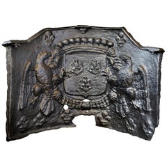 Massive French Baronial Cast Iron Fire Back, circa 1500-1600