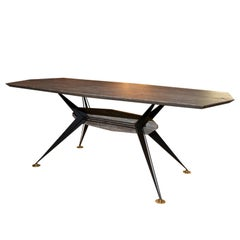 Italian Manufacturer, Table in Silver Travertine and Iron, 1950s