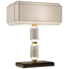 Beatiful Table Lamp Realised with Pyrex Glass Amber or Smoked Mosaic Decoration