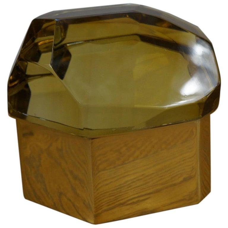 Toso Mid-Century Modern Amber Molato Murano Glass Jewelry Box, 1982 For Sale