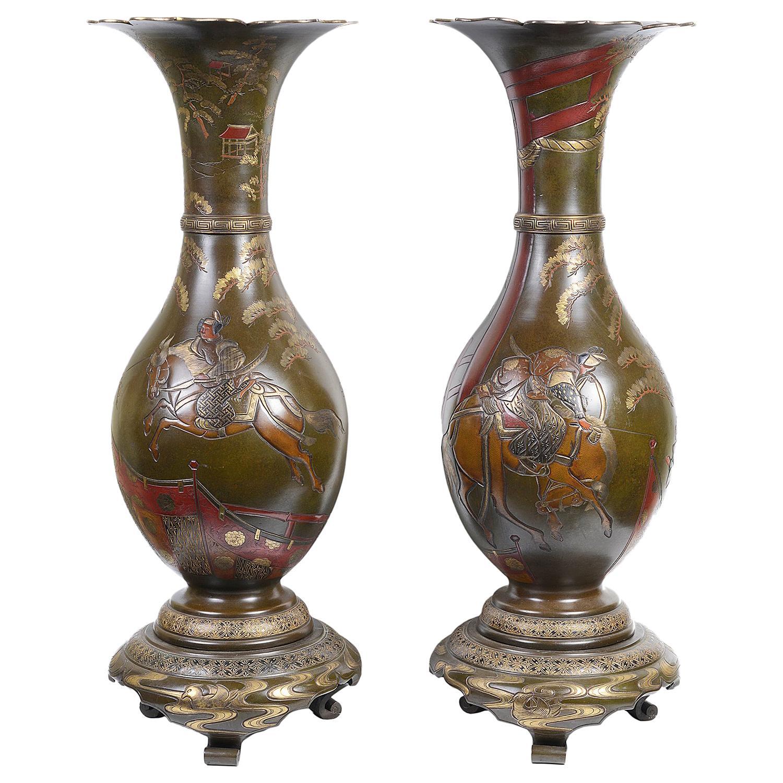 Large Pair Japanese Bronze Meiji Period Vases