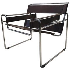 Vintage Brown Leather Wassily B3 Chair by Marcel Breuer for Gavina, 1960s
