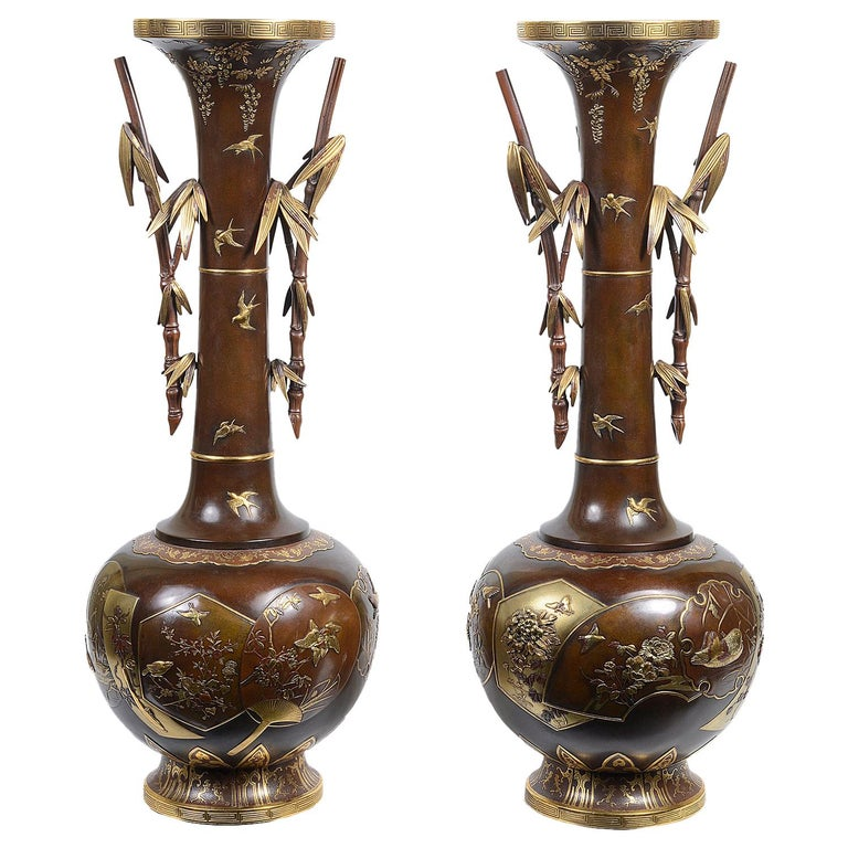 Fine Quality Pair of Miyao Japanese Bronze Vases For Sale