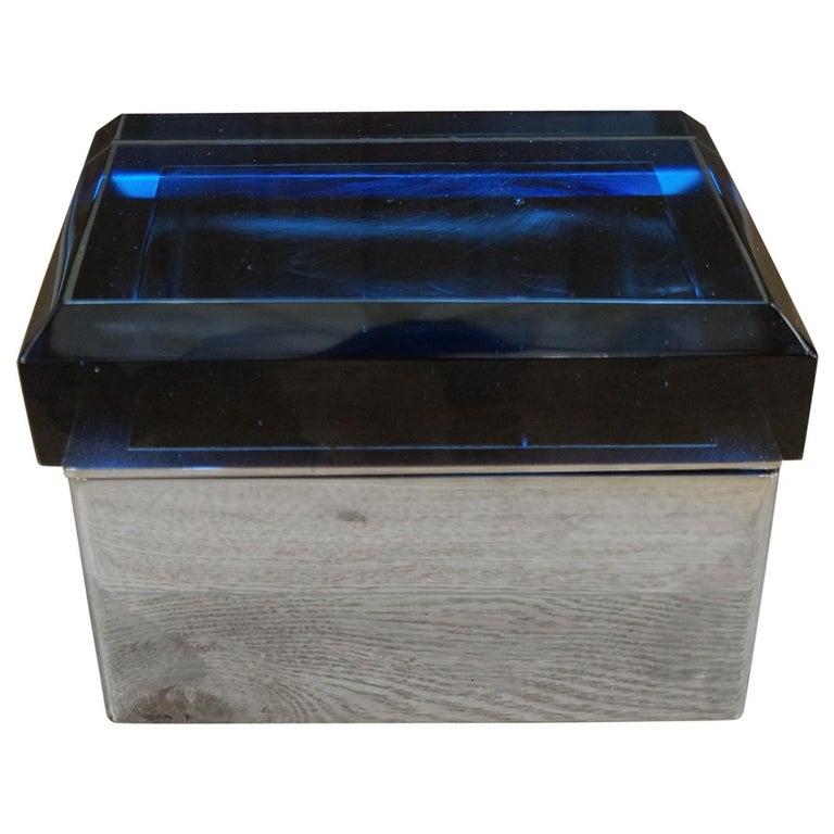 Toso Mid-Century Modern Blue Molato Murano Glass Jewelry Box, 1982 For Sale