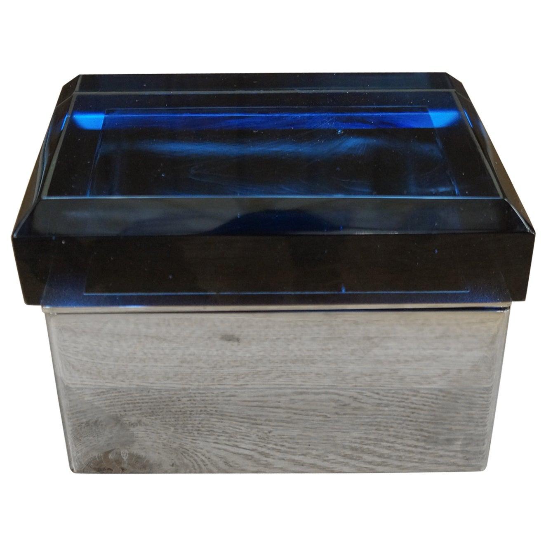 Toso Mid-Century Modern Blue Molato Murano Glass Jewelry Box, 1982
