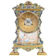 French Champleve Enamel Mantel Clock, 19th Century