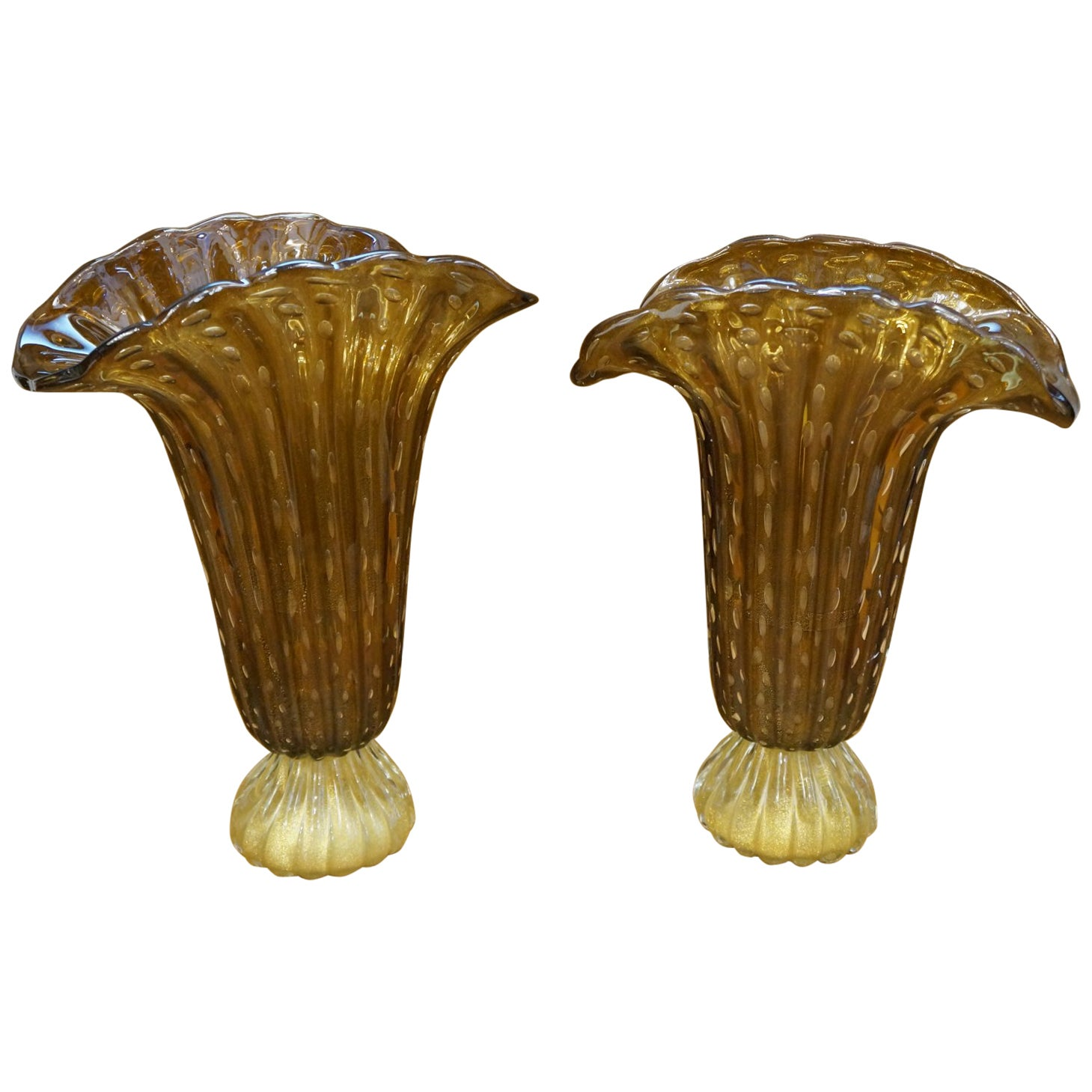 Toso Mid-Century Modern Tobacco Gold Pair of Murano Glass Vases Signed, 1987