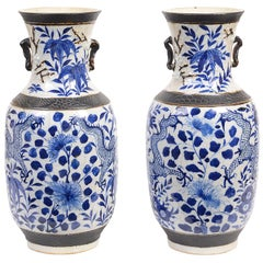 Pair of Chinese 19th Century Blue and White Crackleware Vases / Lamps