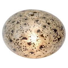 Large Spherical Ball Floor Light with Floral Decor, 1970s