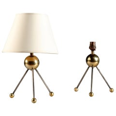 Pair of Tripod Table Lamps of Sputnik Form, in Steel and Brass, Contemporary