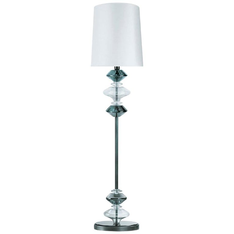 Fantastic Floor Lamp with Bronze Metal Frame Lampshade in Fabric Ivory Color For Sale