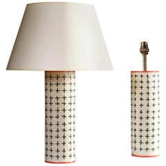 Pair of Contemporary White Studio Pottery Lamps with Black Decoration