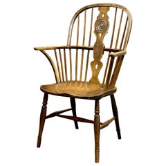 19th Century Draft Back Windsor Chair in Beech, Ash and with an Elm Seat