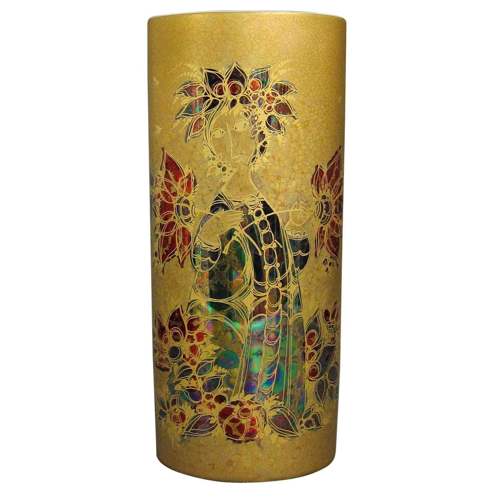 Rare Rosenthal Studio Hand Painted Gilded Vase by Bjorn Wiinblad, 1960s