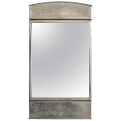 Mirror in Pewter and Brass Produced by Rudolf Zibell Metallvarufabrik in Sweden