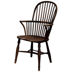 Ash and Elm Hoopstick Back Windsor Chair with Crinoline Stretcher, circa 1830