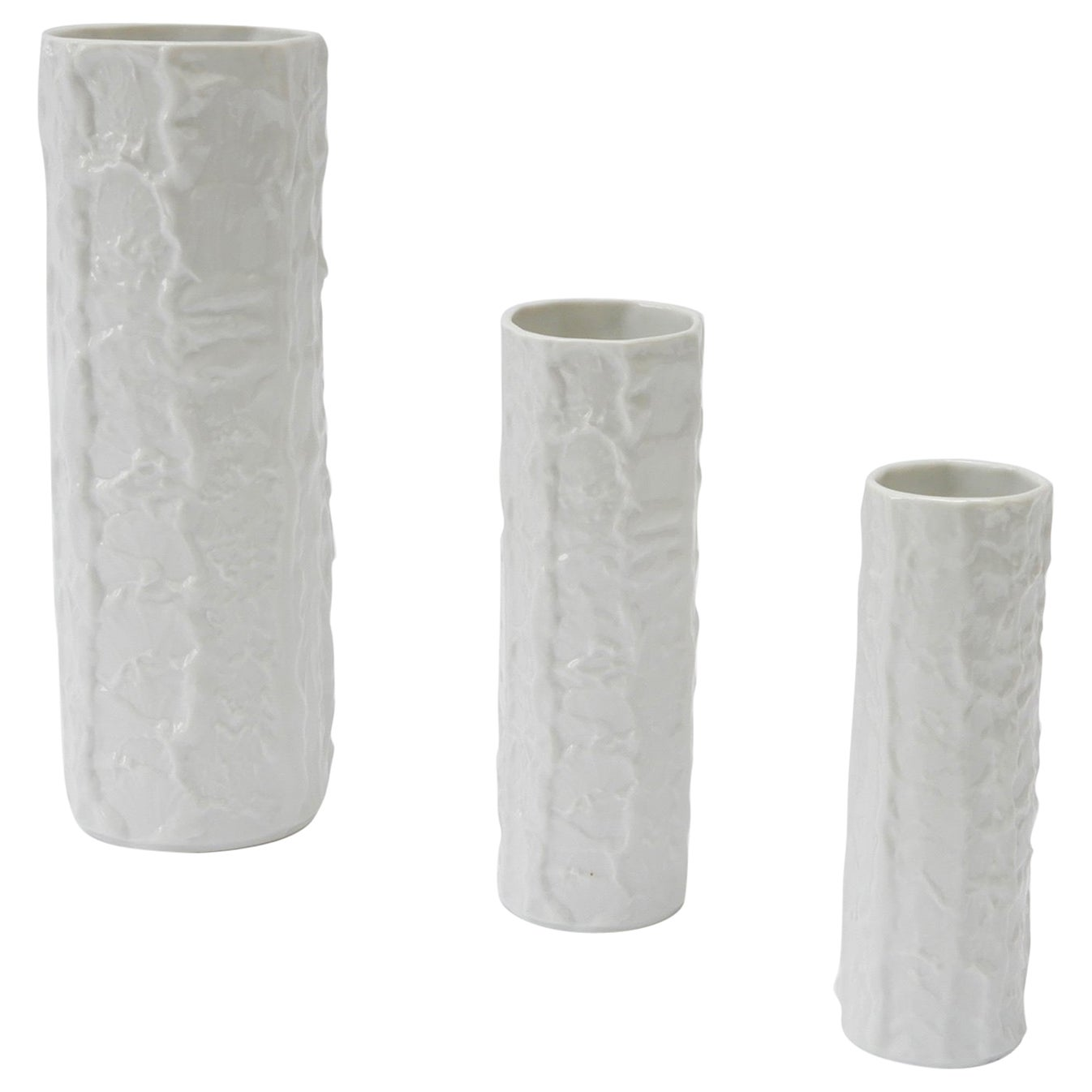 Set of Three German White Ceramic Vases, 1960s