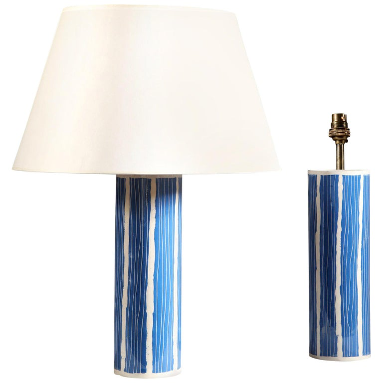 Pair of Blue and White Studio Pottery Vases For Sale