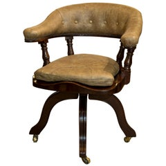 Mahogany Revolving Desk Chair with Leather Back, Arms and Squab Seat, circa 1880