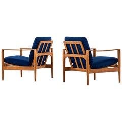 Illum Wikkelsø Easy Chairs Model Ek Produced by Niels Eilersen in Denmark