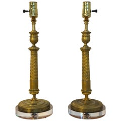 Pair of Charles X Ormolu Candlesticks, Now as Lamps