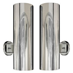 Paul Mayen Sconces in Polished Aluminum, 1960s 'Signed'