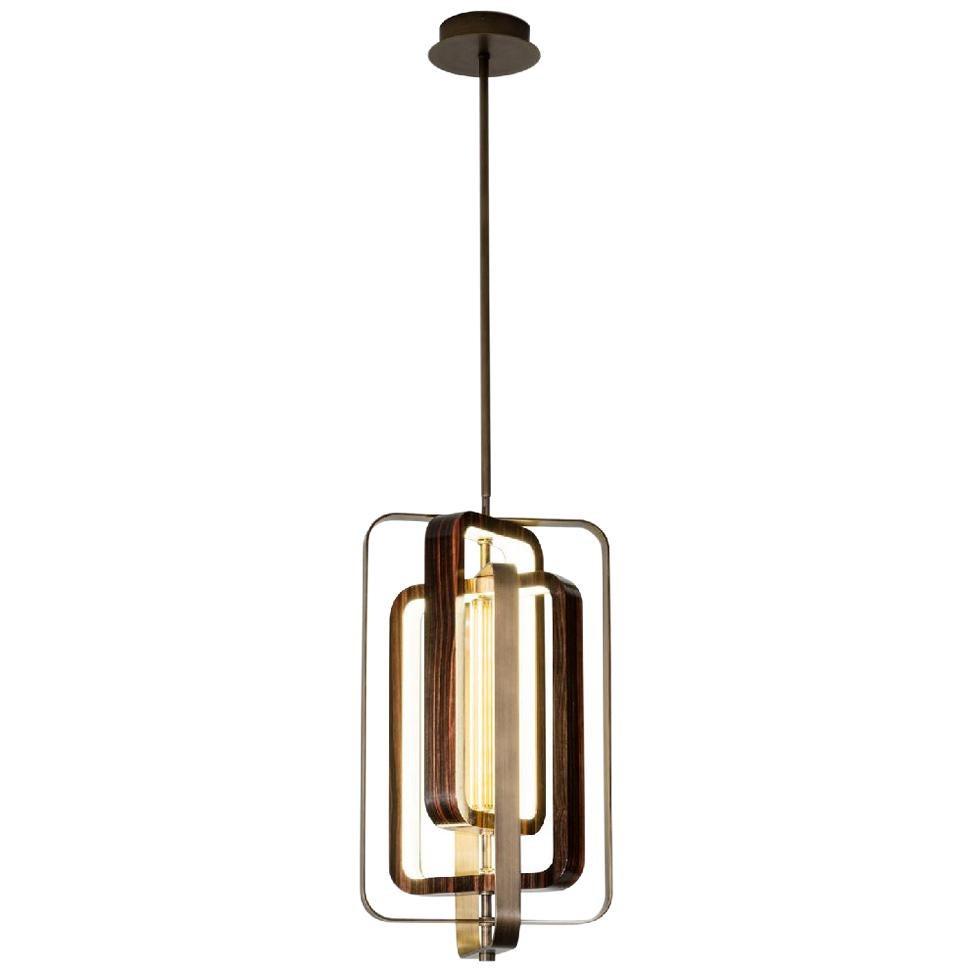 Fantastic Ceiling Lamp in Bronzed Finish Brass Decorative Rings Ebony Finish