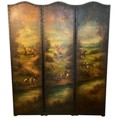 English Leather Hunting Scene Three Panel Screen