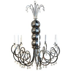 Large Midcentury Chrome and Crystal Eight Light Chandelier