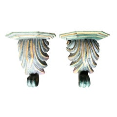 Pair of 20th Century Continental Carved Wood Polychrome Brackets, Gilt Detail