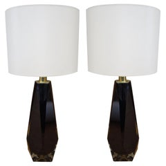 Alberto Donà Black Pair of Italian Murano Glass Table Lamps Molato, 1995