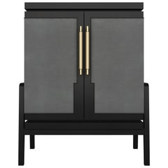 Art Deco Inspired Cupid Cabinet in Show-wood and Upholstered & Novasuede