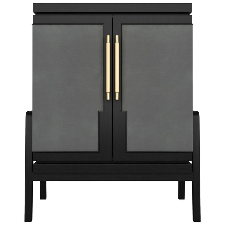 Art Deco Inspired Cupid Cabinet in Show-wood and Upholstered & Novasuede For Sale
