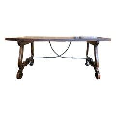 19th Century Spanish Walnut-Top Trestle Table with Iron Stretcher, circa 1860