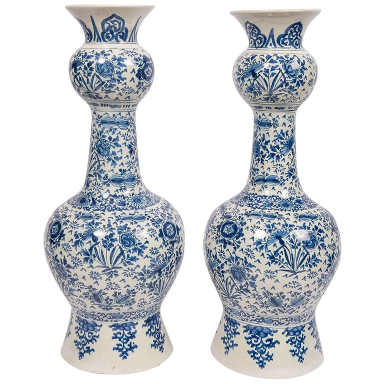 Pair of Antique Blue and White Delft Vases Mid 18th Century For Sale