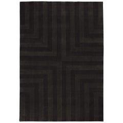 Lux 3 Black Coffee Wool Cut Pile Rug in Scandinavian Design