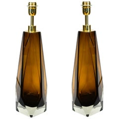 Alberto Donà Mid-Century Modern Amber Pair of Murano Glass Table Lamps, 1995