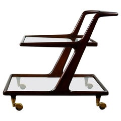Italian Midcentury Mahogany and Brass Serving or Bar Cart by Cesare Lacca