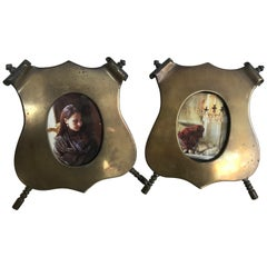 Pair of Bronze Shield Shape Photo Picture Frames, circa 1940