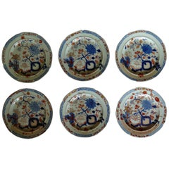 Very Early Set of Six Mason's Ironstone Plates in Jardiniere Pattern, circa 1815
