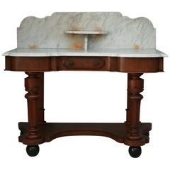 Antique Victorian Washstand, Mahogany and White Marble, 19th Century