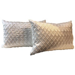 Pair Silk Cushions Fish Scale Pattern Embossed Colour Oyster Rectangular Shape