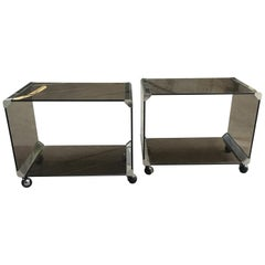 Mid-Century Modern Italian Pair of Smoked Glass Carts by Gallotti & Radice 1970s