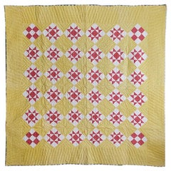 "Antique ""Lone Star"" Yellow Patchwork Quilt"