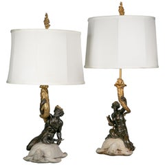 Two American Bronze and Marble Table Lamps, E.F. Caldwell, circa 1915
