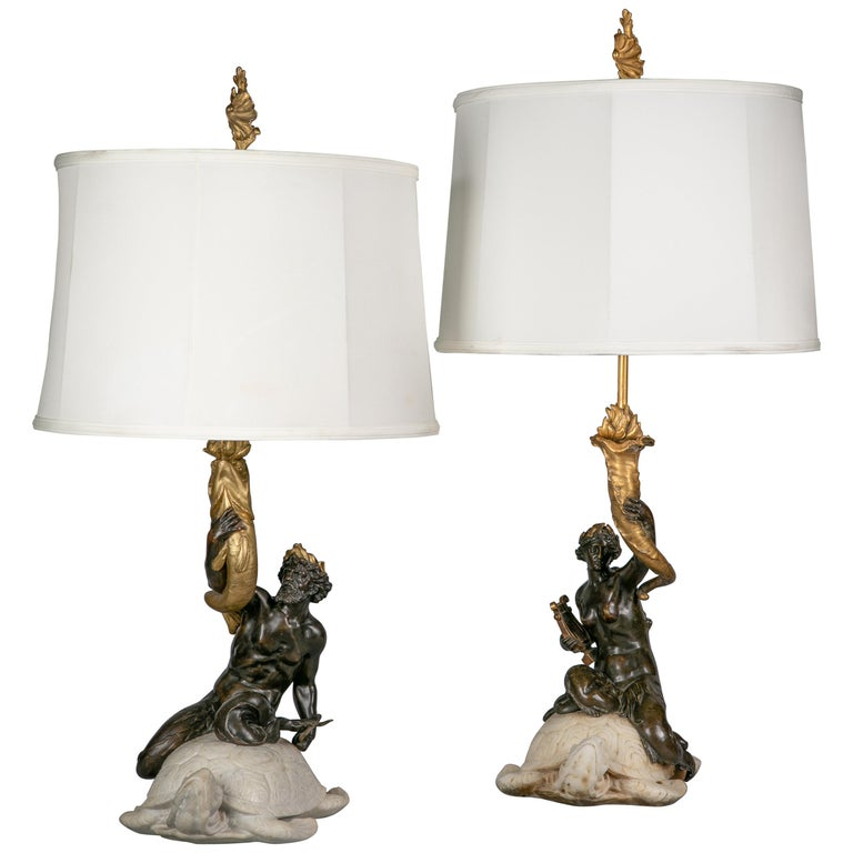 Two American Bronze and Marble Table Lamps, E.F. Caldwell, circa 1915 For Sale