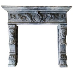 Late 19th Century Italian Stone Surround with Lions and Lion Paws