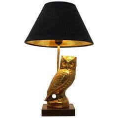 Owl Sculpture Table Lamp in Brass by Deknudt, Belgium, 1970s