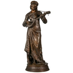 French Bronze Figure of Lady Playing a Lute, Adrien Etienne Gaudez, circa 1875