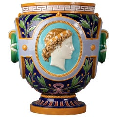 English Majolica Jardinière, Minton, Dated 1870